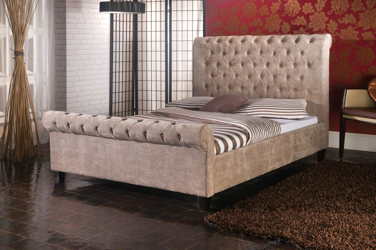 Mink velvet chesterfield sleigh bed-Fabric beds-bedsmart