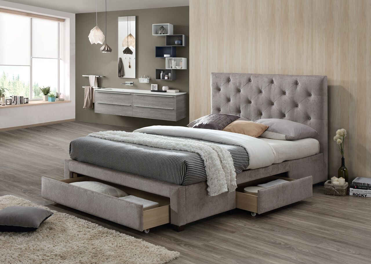 Mink velvet deep buttoned fabric storage bed