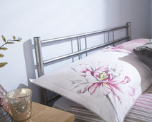 Silver metal bed frame | Morgan bed frame-bedsteads-bedsmart