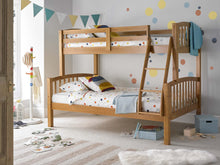 Pine triple sleeper bunks 3ft over 4ft | Small double three sleeper bunk bed - bedsmart
