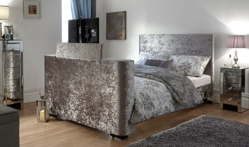 Crushed velvet TV bed | New Miami TV bed-bedsteads-bedsmart