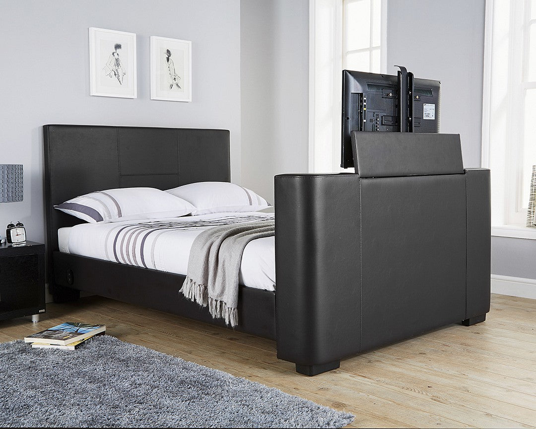Miami TV bed | New black faux leather TV bed-bedsteads-bedsmart