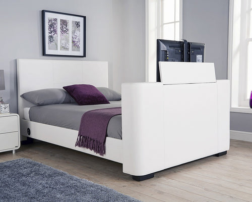 Miami TV bed | New white faux leather TV bed-bedsteads-bedsmart