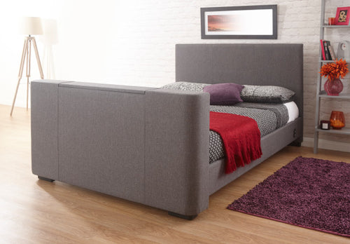 Miami TV bed | New grey fabric TV bed-bedsteads-bedsmart