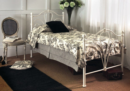 Victorian style ivory metal bed frame