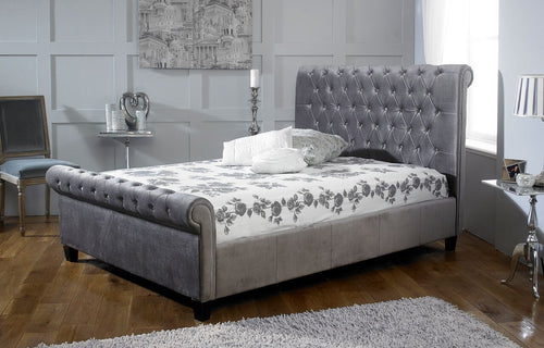 silver plush velvet chesterfield sleigh bed