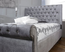 silver plush velvet chesterfield sleigh bed-Fabric beds-bedsmart