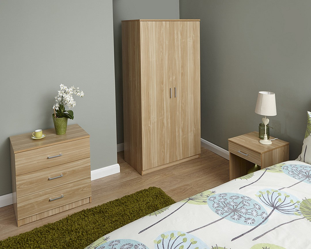 Oak effect three piece bedroom set-Furniture-bedsmart