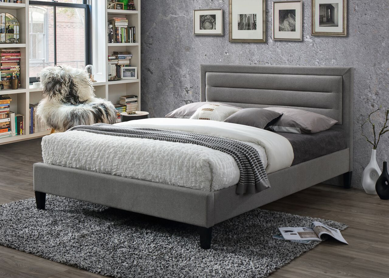 Picasso grey fabric bed frame-Fabric beds-bedsmart