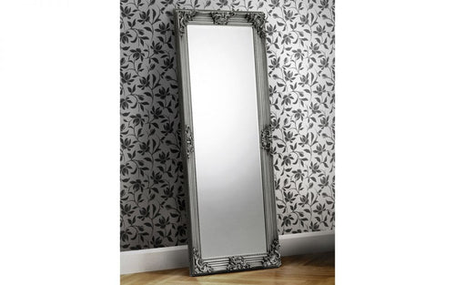 Pewter lean to dress mirror | antique floor standing mirror - bedsmart