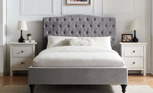 Rosa light grey fabric bed frame with high buttoned headboard-bedsteads-bedsmart