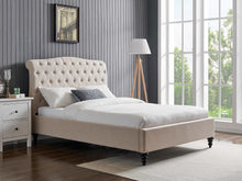 Rosa natural fabric bed frame with high buttoned headboard-bedsteads-bedsmart