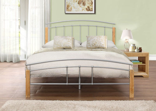 Beech and silver small double metal bed frame-bedsteads-bedsmart