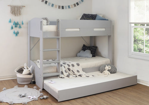 Billie grey bunk bed with pull out guest bed-Childrens Beds-bedsmart