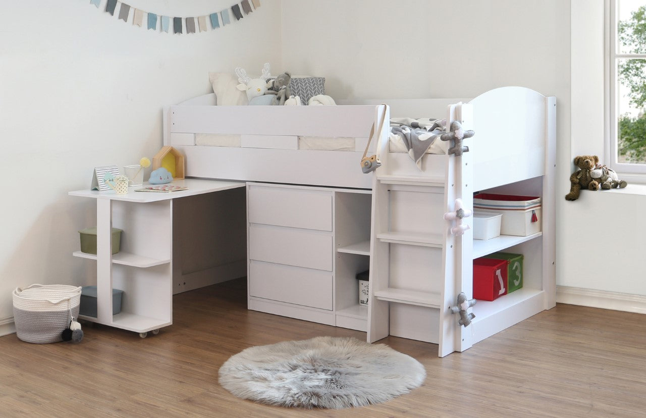 Billie white mid sleeper bed with storage drawers, shelves and desk-Childrens Beds-bedsmart