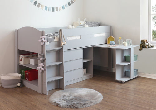 Billie grey mid sleeper bed with storage drawers, shelves and desk-Childrens Beds-bedsmart