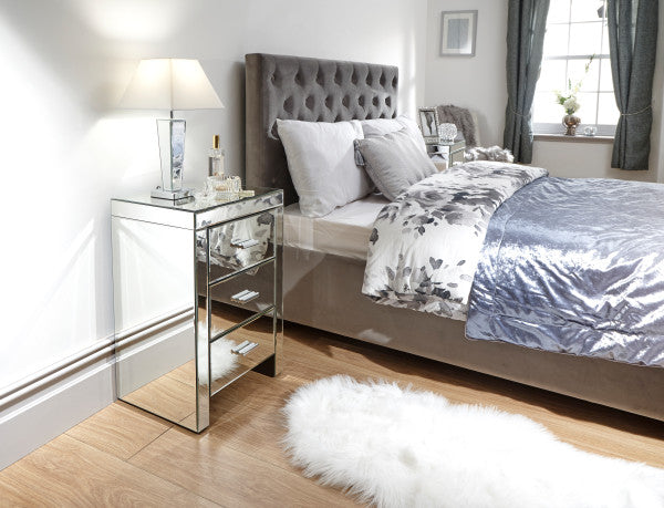 Beautiful mirrored 3 drawer bedside | mirrored bed side cabinet - bedsmart