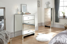 Mirrored chest of drawers | Venetian mirrored 4 drawer cabinet-Furniture-bedsmart