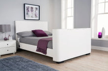 Miami TV bed | New white faux leather TV bed - bedsmart