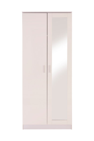 White 2 door mirrored wardrobe | double wardrobe with full length mirror-Furniture-bedsmart