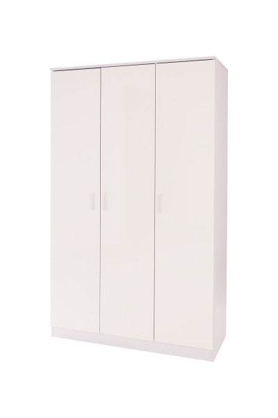 White 3 door wardrobe with storage shelves