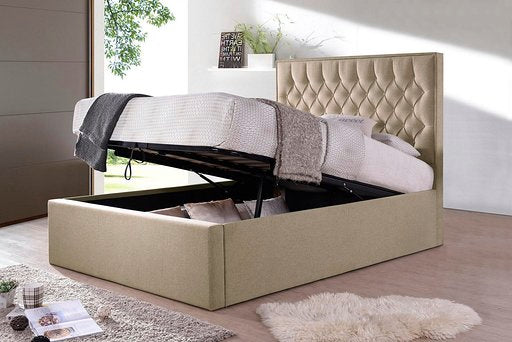 Wiltshire oatmeal fabric ottoman bed-bedsteads-bedsmart