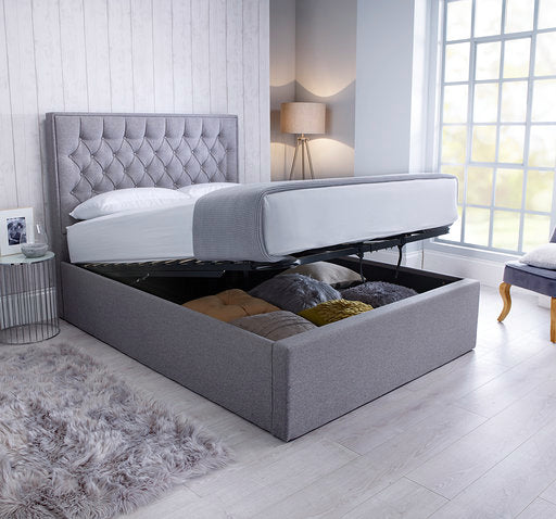 Wiltshire grey fabric ottoman bed-bedsteads-bedsmart