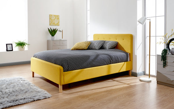 Yellow double bed frame | Mustard coloured loft bed-bedsteads-bedsmart