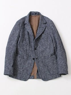 Indigo Cotton Tweed Double Cloth Jacket