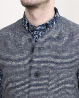 Indigo Cotton Tweed Double Cloth Vest