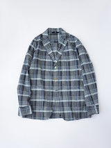 Indigo Hakeme Check Shirt Jacket