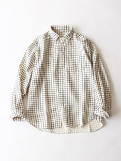 Yarn Dye Double Cloth Small Collar Button Down Shirt