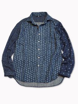 4545 Double Cloth Indigo Discharge Crazy Shirt