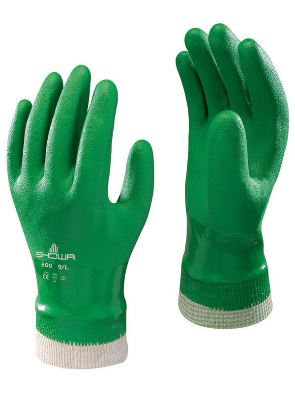 600 Showa Green Gloves w/ Knit Cuff