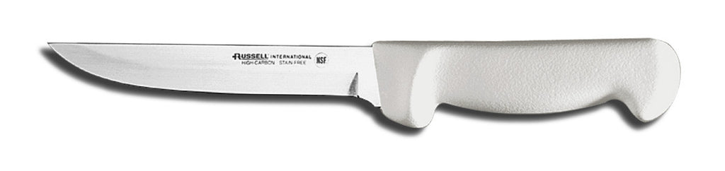 6 inch wide boning knife, white handle