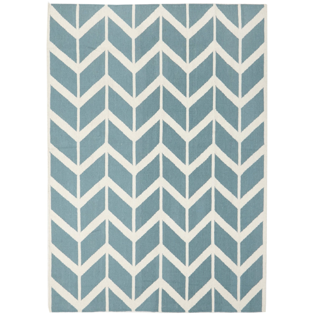 products – rug chic - chevron flat weave blue rug