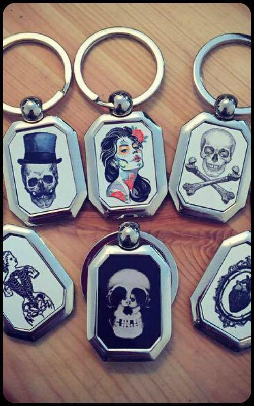 Macabre Key Ring - Mixed Designs - zwhart.be
