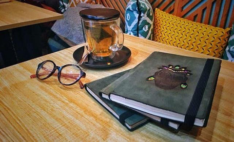 Leather Notebook with Front Design , Size A5 From Tibeb Leather Works