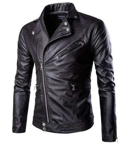 fashion stand collar motorcycle leather clothing