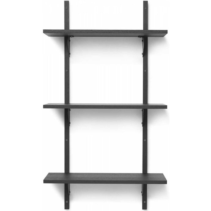 Ferm Living Sector Shelf - Triple/Narrow - Black Ash/Black Brass
