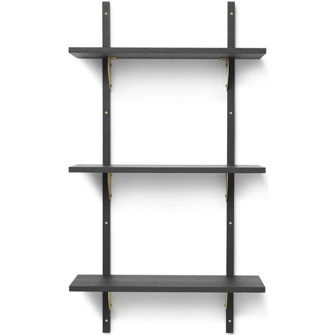 Ferm Living Sector Shelf - Triple/Narrow - Black Ash/Brass