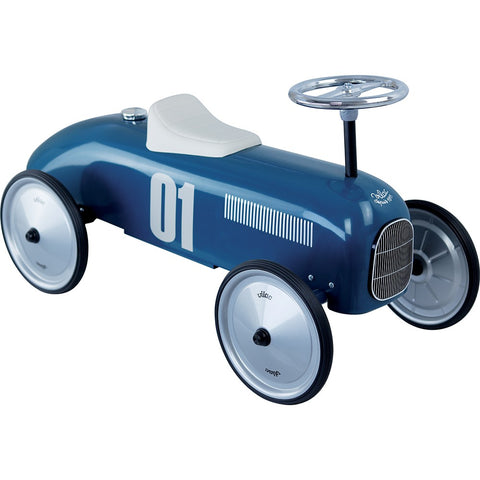 Vilac Metal Ride-On Vintage Racing Car - Blue
