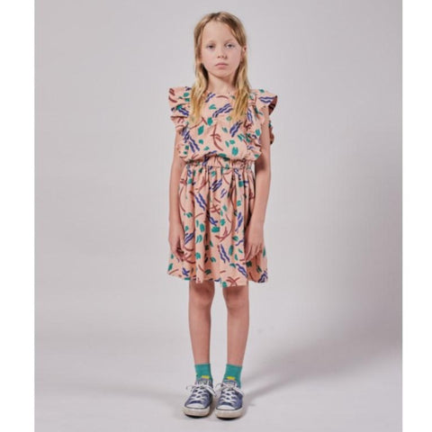 Bobo Choses Strokes All Over Ruffle Dress