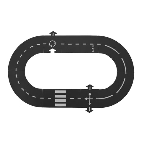 Waytoplay Rubber Toy Car Track Set - Ringroad - 12 Pieces