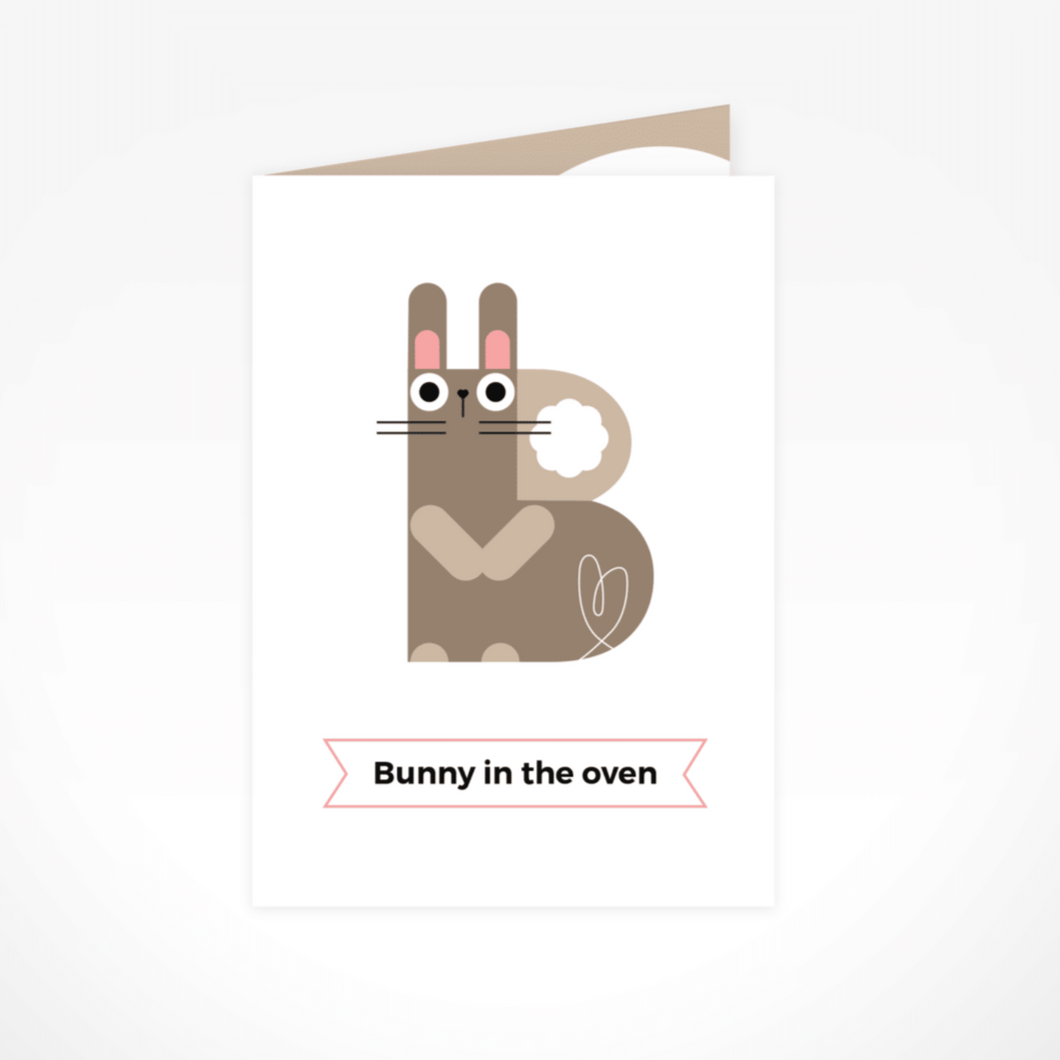 Bunny In the Oven Greeting Card By The Jam Tart