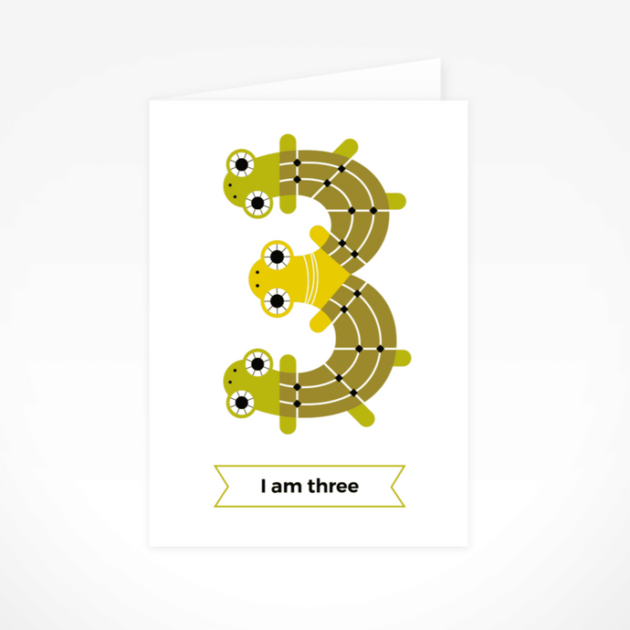 I Am Three (Turtles) Greeting Card By The Jam Tart
