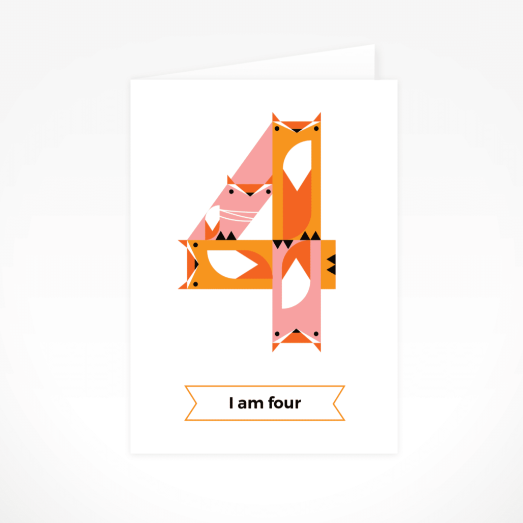 I Am Four (Foxes) Greeting Card By The Jam Tart