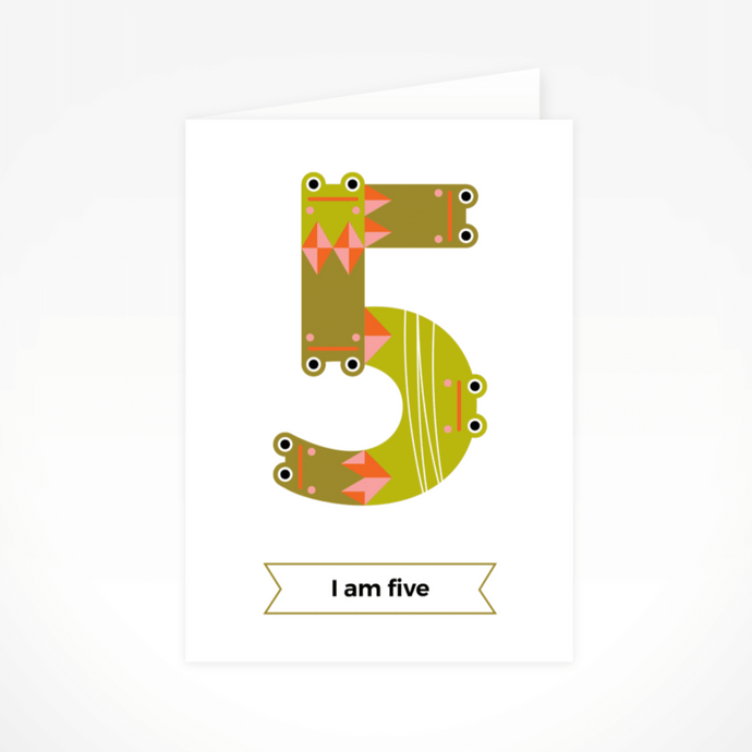 I Am Five (Frogs) Greeting Card By The Jam Tart