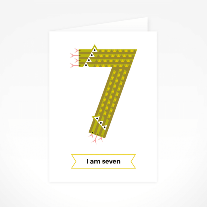 I Am Seven (Snakes) Greeting Card By The Jam Tart