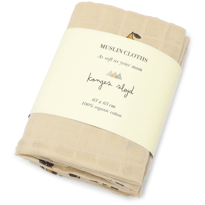 Konges Slojd 3-Pack Organic Muslin Cloths - Pear